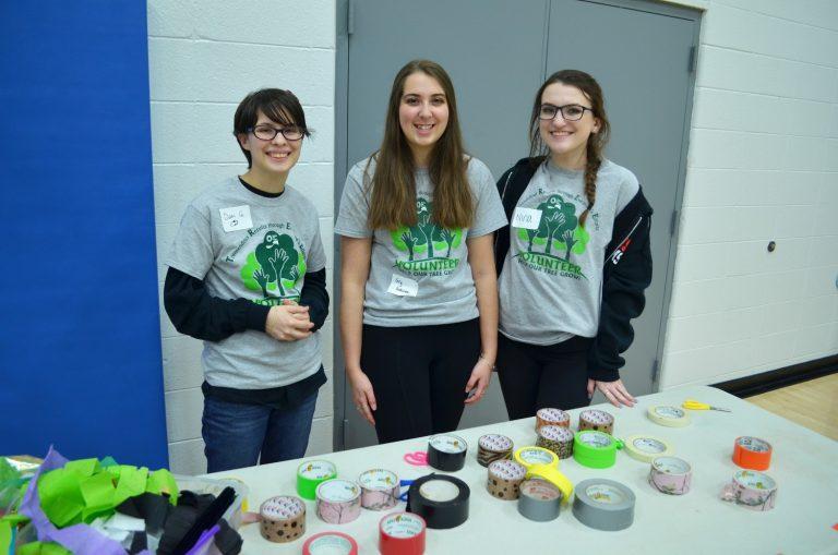 Volunteers at Indoor Drive-In Movie Night