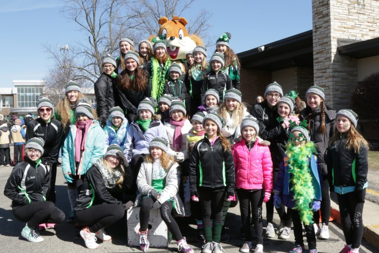 Sammy with Dance Company at St. Patrick's Day Parade