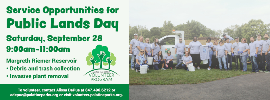 Service Opportunities for Public Lands Day through Palatine Park District on September 28