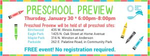Preschool Preview at All Preschool Locations on January 30