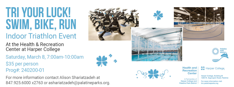Tri Your Luck Indoor Triathlon at Health and Recreation Center on March 8