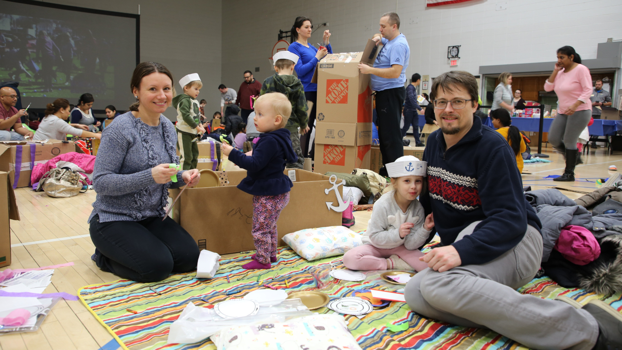Family at Indoor Movie Night in March 2019