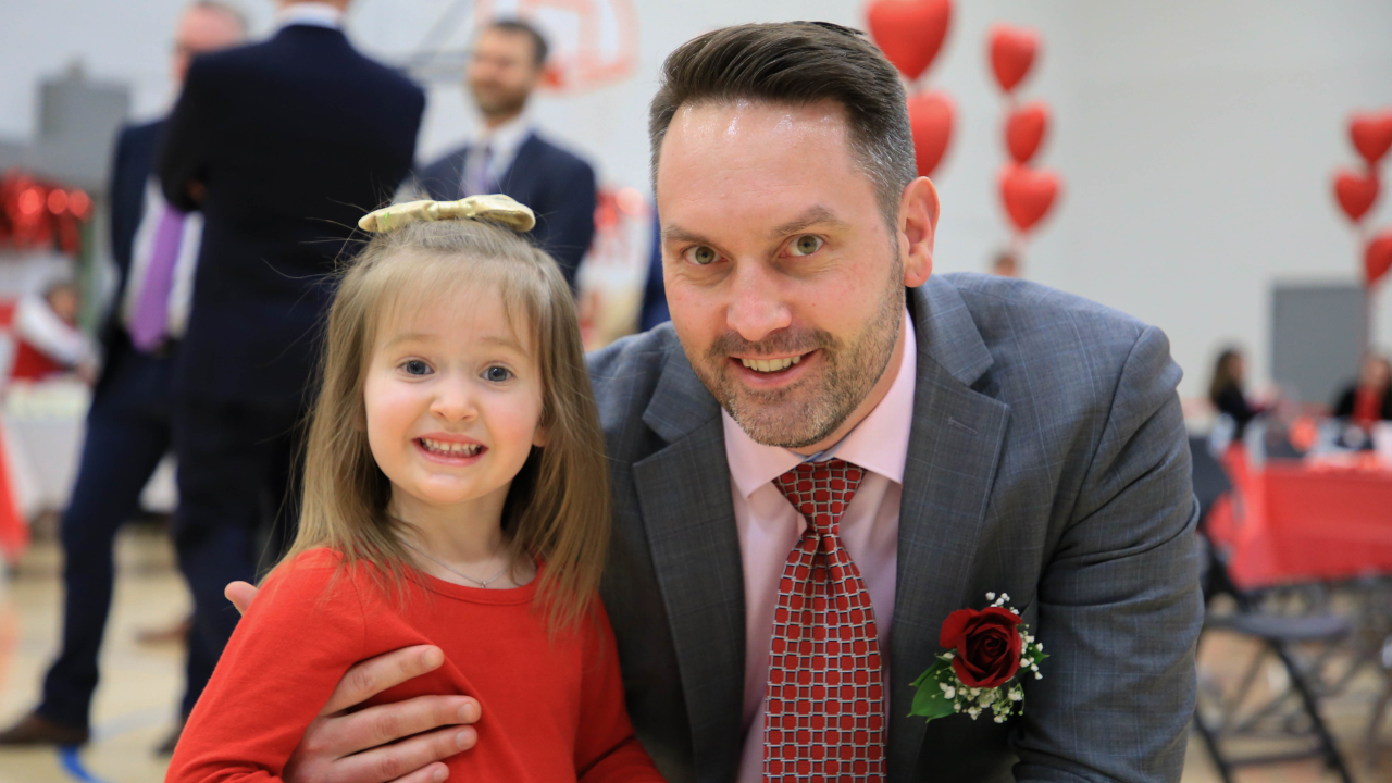 Father and Daughter at Palatine Park District Date Night in February 2020.