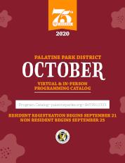 October 2020 Virtual & In-Person Programming Catalog