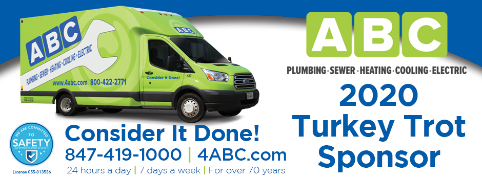 ABC Plumbing, Sewer, Heating, Cooling, and Electric is a Proud Sponsor of the 2020 Turkey Trot
