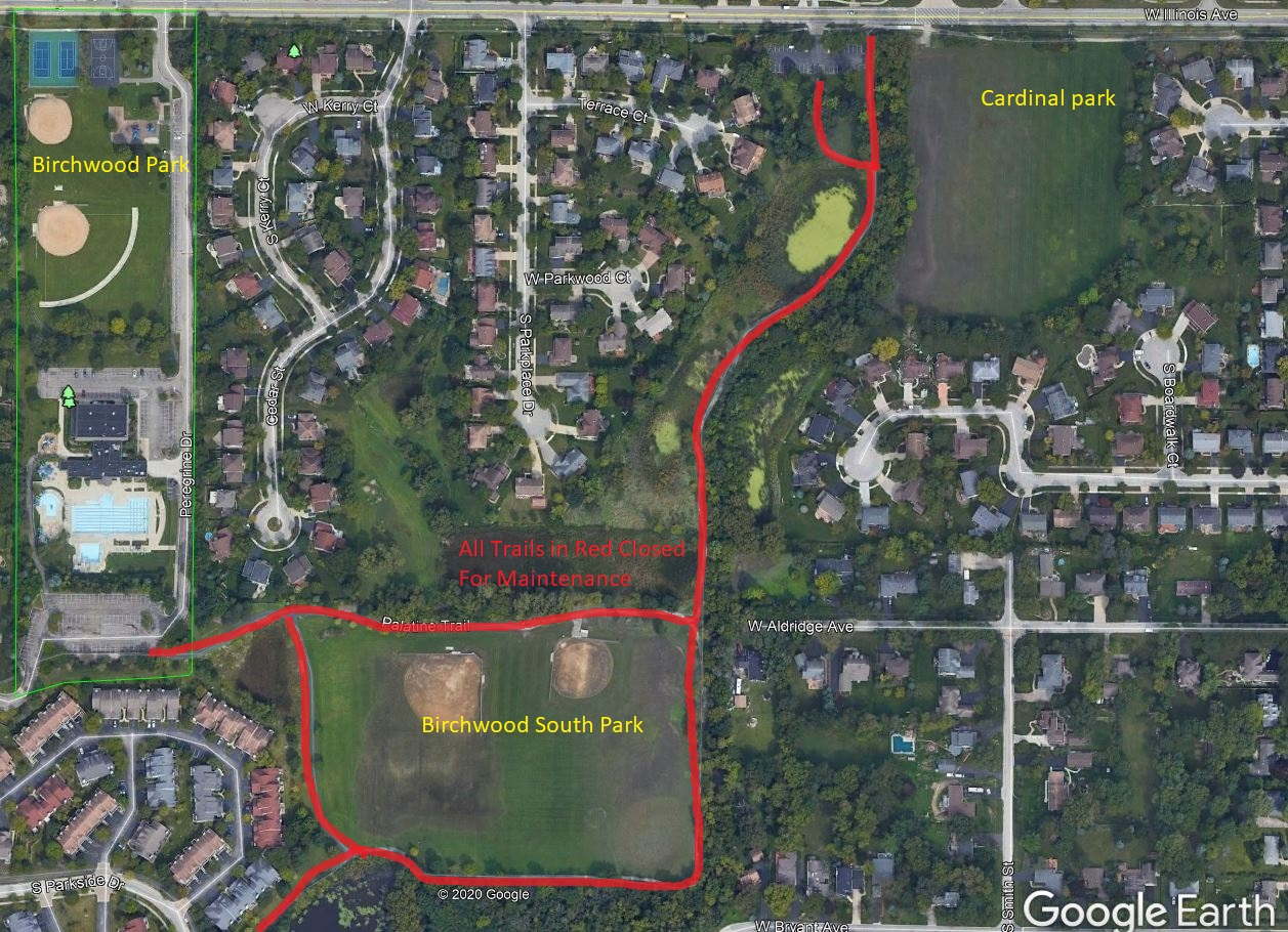 Palatine Trail Closure Map for November 20, 2020