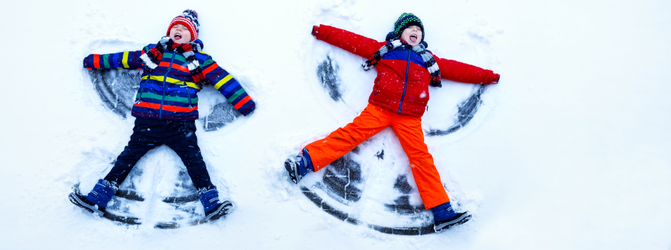 Two Kids Playing in Snow